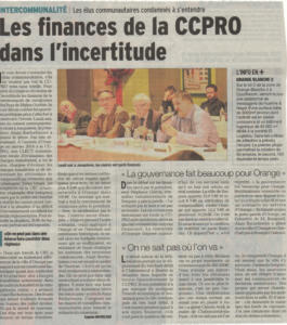 Intercommunalite Les finances de la CCPRO 2dec2015