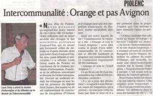 Orange et pas Avignon