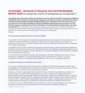 Reunion OSE : projet de creche d'entreprise au Coudoulet 24mars2016