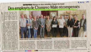 Médaille d'argent du Travail chez Chimirec-Malo