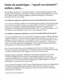 Salon du numérique à Avignon SpeedRecrutement 15fev2016